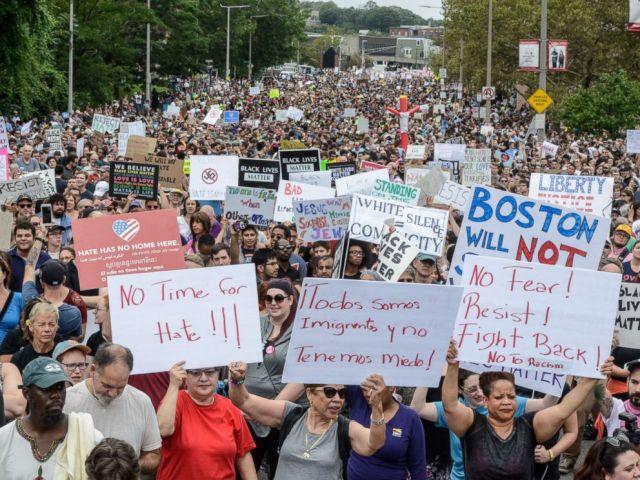 Boston protesters march